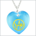 Archangel Gabriel Sigil Magic Amulet Planet Energy Puffy Heart Blue Simulated Cats Eye 18 inch Necklace