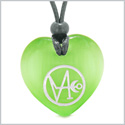 Archangel Gabriel Sigil Magic Planet Energy Amulet Puffy Heart Green Simulated Cats Eye Pendant Necklace