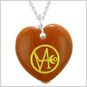 Archangel Gabriel Sigil Magic Amulet Planet Energy Puffy Heart Red Jasper Pendant 22 inch Necklace