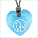 Archangel Uriel Sigil Magic Planet Energy Amulet Puffy Heart Sky Blue Simulated Cats Eye Pendant Necklace
