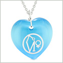 Archangel Uriel Sigil Magic Planet Energy Amulet Puffy Heart Sky Blue Simulated Cats Eye 22 inch Necklace