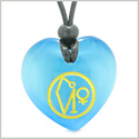 Archangel Uriel Sigil Magic Amulet Planet Energy Puffy Heart Sky Blue Simulated Cats Eye Pendant Necklace
