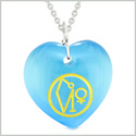 Archangel Uriel Sigil Magic Amulet Planet Energy Puffy Heart Sky Blue Simulated Cats Eye 22 inch Necklace