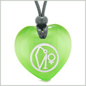 Archangel Uriel Sigil Magic Planet Energy Amulet Puffy Heart Green Simulated Cats Eye Pendant Necklace