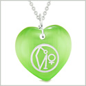 Archangel Uriel Sigil Magic Planet Energy Amulet Puffy Heart Green Simulated Cats Eye 22 inch Necklace