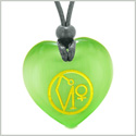 Archangel Uriel Sigil Magic Amulet Planet Energy Puffy Heart Green Simulated Cats Eye Pendant Necklace