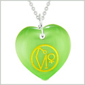 Archangel Uriel Sigil Magic Amulet Planet Energy Puffy Heart Green Simulated Cats Eye 18 inch Necklace