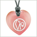 Archangel Uriel Sigil Magic Planet Energy Amulet Puffy Heart Pink Simulated Cats Eye Pendant Necklace