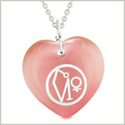 Archangel Uriel Sigil Magic Planet Energy Amulet Puffy Heart Pink Simulated Cats Eye 22 inch Necklace