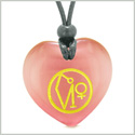 Archangel Uriel Sigil Magic Amulet Planet Energy Puffy Heart Pink Simulated Cats Eye Pendant Necklace