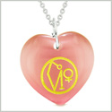 Archangel Uriel Sigil Magic Amulet Planet Energy Puffy Heart Pink Simulated Cats Eye 22 inch Necklace