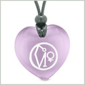Archangel Uriel Sigil Magic Planet Energy Amulet Puffy Heart Purple Simulated Cats Eye Pendant Necklace