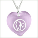 Archangel Uriel Sigil Magic Planet Energy Amulet Puffy Heart Purple Simulated Cats Eye 22 inch Necklace