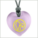 Archangel Uriel Sigil Magic Amulet Planet Energy Puffy Heart Purple Simulated Cats Eye Pendant Necklace