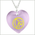 Archangel Uriel Sigil Magic Amulet Planet Energy Puffy Heart Purple Simulated Cats Eye 22 inch Necklace
