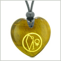 Archangel Uriel Sigil Magic Amulet Planet Energy Puffy Heart Tiger Eye Pendant Adjustable Necklace