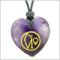 Archangel Uriel Sigil Magic Amulet Planet Energy Puffy Heart Purple Quartz Pendant Adjustable Necklace