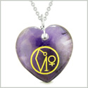 Archangel Uriel Sigil Magic Amulet Planet Energy Puffy Heart Purple Quartz Pendant 22 inch Necklace
