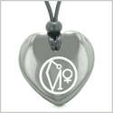 Archangel Uriel Sigil Magic Planet Energy Puffy Heart Amulet Hematite Pendant Adjustable Necklace