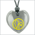Archangel Uriel Sigil Magic Amulet Planet Energy Puffy Heart Hematite Pendant Adjustable Necklace