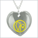 Archangel Uriel Sigil Magic Amulet Planet Energy Puffy Heart Hematite Pendant 22 inch Necklace