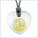 Archangel Uriel Sigil Magic Amulet Planet Energy Puffy Heart White Simulated Cats Eye Pendant Necklace