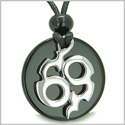 Amulet Infinity Symbol Magic Fire Energy Medallion Black Onyx Spiritual Protection Powers Pendant on Adjustable Cord Necklace