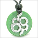 Amulet Infinity Symbol Magic Fire Energy Medallion Green Jade Good Luck Powers Pendant on Adjustable Cord Necklace