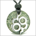 Amulet Infinity Symbol Magic Fire Energy Medallion Green Moss Agate Good Luck Powers Pendant on Adjustable Cord Necklace