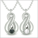 Amulets Infinity Love Couple Set Yin Yang Energy Magic Symbol Eternity Powers Black Onyx White Cat's Eye Necklaces