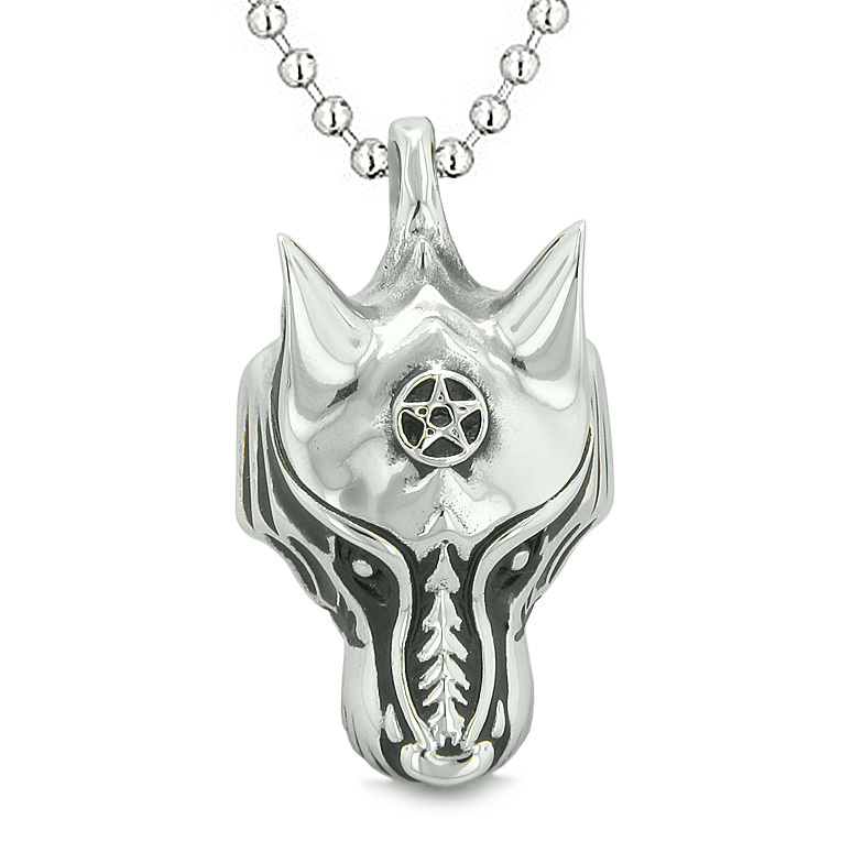 Courage Howling Wolf Protection Energy Amulet Lucky Crystal Point Hematite Pendant 18 Inch Necklace