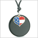 Proud American Flag Spirit Super Heart Lucky Charm Black Agate Spiritual Amulet Adjustable Necklace