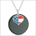 Proud American Flag Spirit Super Heart Lucky Charm Black Agate Spiritual Amulet 18 Inch Necklace