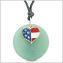 Proud American Flag Spirit Super Heart Lucky Charm Green Quartz Spiritual Amulet Adjustable Necklace