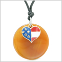 Proud American Flag Spirit Super Heart Lucky Charm Carnelian Spiritual Amulet Adjustable Necklace