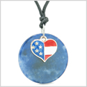 Proud American Flag Spirit Super Heart Lucky Charm Sodalite Spiritual Amulet Adjustable Necklace