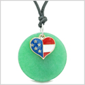Proud American Flag Spirit Super Heart Lucky Charm Deep Green Quartz Spiritual Amulet Adjustable Necklace