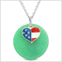 Proud American Flag Spirit Super Heart Lucky Charm Deep Green Quartz Spiritual Amulet 18 Inch Necklace
