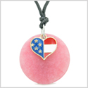Proud American Flag Spirit Super Heart Lucky Charm Pink Quartz Spiritual Amulet Adjustable Necklace