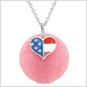 Proud American Flag Spirit Super Heart Lucky Charm Pink Quartz Spiritual Amulet 18 Inch Necklace