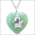Proud USA Flag Spirit Puffy Heart Protection Amulet American Star Charm Green Quartz 22 Inch Necklace