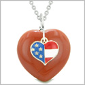 Proud USA Flag Spirit Puffy Heart Protection Amulet American Charm Red Jasper 22 Inch Necklace