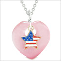Proud USA Flag Spirit Heart Protection American Star Amulet Pink Simulated Cats Eye 18 Inch Necklace