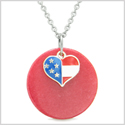 Proud American Flag Spirit Super Heart Lucky Charm Red Quartz Spiritual Amulet 18 Inch Necklace