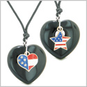 Proud USA Flag Super Heart and Star Love Couples or BFF Set Black Agate Protection Amulet Cord Necklaces