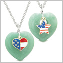 Proud USA Flag Super Heart and Star Love Couples or BFF Set Green Quartz Protection Amulet Necklaces