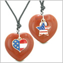 Proud USA Flag Super Heart and Star Love Couples or BFF Set Red Jasper Protection Amulet Cord Necklaces