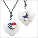 Proud USA Flag Super Heart and Star Love Couples or BFF Set White Quartz Protection Amulet Cord Necklaces