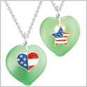 Proud USA Flag Super Heart and Star Love Couples or BFF Set Green Simulated Cats Eye Amulet Necklaces