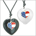 Proud USA Flag Super Heart Charm Love Couples BFF Set Agate White Simulated Cat Eye Amulet Cord Necklaces